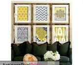 Citrine Mustard Yellow Digital Print Wall Art Prints Modern Inspired  - Set of 6 Prints - Yellow / Grey (UNFRAMED)
