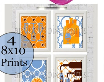 Orange Blue Brown Wine Glasses Kitchen Wall Art, (4) 8x10 Prints, Custom Colors Sizes Available (Unframed)