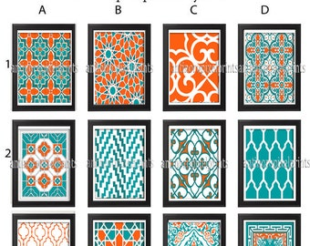 Digital Moroccan Damask Prints Teals Orange White Wall Art - Choose any  (1) -11x14 Prints -  (UNFRAMED) Custom Colors and Sizes Available