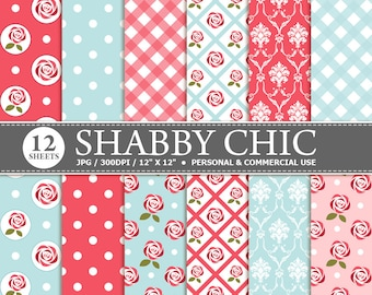 70% OFF SALE 12 Shabby Chic Digital Scrapbook Paper, digital paper patterns for card making, invitations, scrapbooking