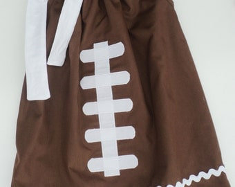 Custom Boutique Football Pillow Case Dress Sizes 0-6 mo, 6-12mo, 12-18mo, 18-24mo, 2t, 3t, 4t, 5/6, 7/8