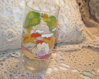 Snoopy, Peanuts, Cartoons,  Camping, Tumbler Glass, Vintage Kitchen, Vintage Dishes, Camp Snoopy Collection Glass Tumbler  :)