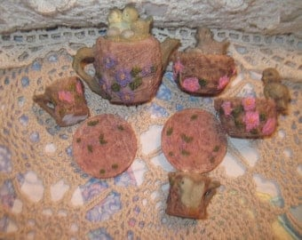 Miniature  Bird Tea Set Sweet / Small Doll Size Not Included in Discount Sale :)