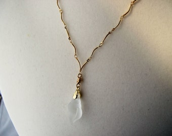 Clear Sea Glass Shell Pendant on Gold Curved Link Chain