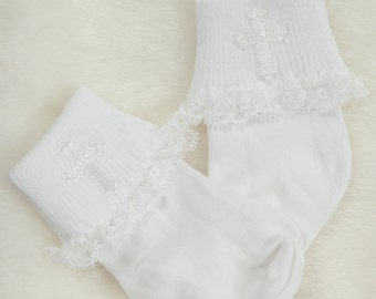 Infant White Baby Girl Socks with Embroidered Cross