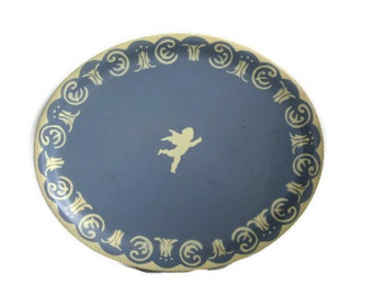 Vintage Tin Blue Wedgwood Tray, Blue Jasper English Country Cottage Chic Serving Display