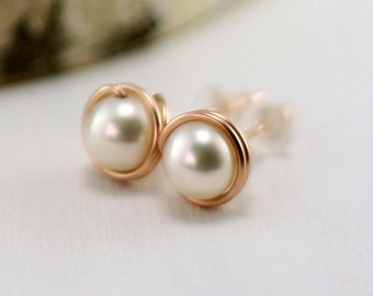 Rose Gold Pearl Earrings, 14k Rose Gold Filled Cream White Freshwater Pearl Stud Earrings Pink Gold Wire Wrapped Post