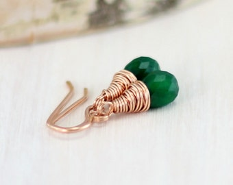 Genuine Emerald Earrings, 14k Rose Gold Filled Wire Wrapped Emerald Green Pink Gold May Birthstone Dangle Earrings