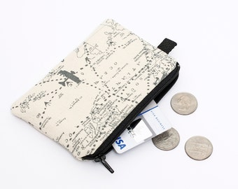 Coin purse, small zipper pouch, map script padded change purse  - vintage world map