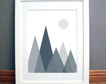 Mountain Print, Charcoal Blue Mountains, Geometric Triangle Print, Charcoal Blue Triangles, Geometric Print Printable Art Download
