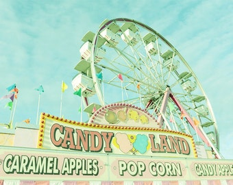 Ferris Wheel Nursery Decor PRINT and CANVAS Gallery Wrap Photo Artwork Vintage Carnival Candy Shop Child Playroom Turquoise Pastel Mint