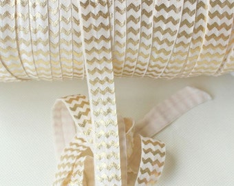 Fold Over Elastic - Ivory Gold Foil Chevron - 2 Yards - Fold Over Elastic - FOE - High Quality Foldover Elastic