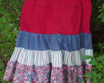 Upcycled women'sbroom skirt  in red, white and blue
