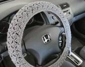 Crochet Steering Wheel Cover, Wheel Cozy - true grey (CSWC 2DDD)