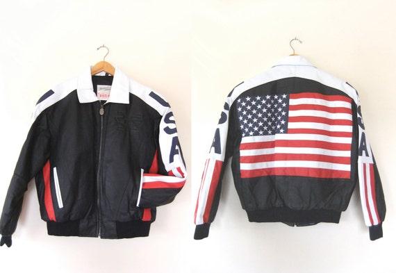 90s American Flag Leather Bomber Jacket Usa Black Leather