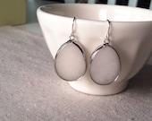 White teardrop earrings