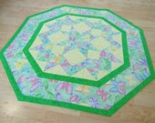 Quilted Table Topper - Butterfly Sparkle Green 277