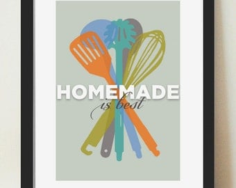 Kitchen Wall Art, Mid Century Modern, Homemade is Best, Inspirational Quote, Gift for Cooks, Retro Kitchen Poster, Kitchen Utensil Print