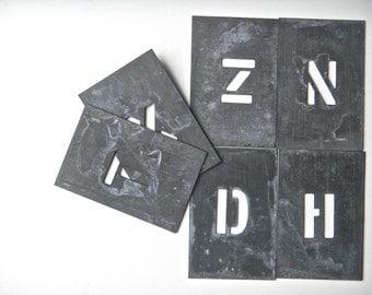 6 Zinc Letter Stencils, Vintage/Antique - Six Capital Letter Stencils, Zinc, D, H, Z, X, N AND T