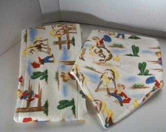 cowboy bandanna style flannel bib and burp cloth set