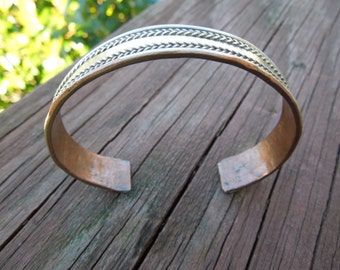 Vintage Copper Bangle, with Ornate Brass.  Solid.