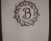 Guest Towel with Branch Monogram Frame