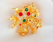 Christmas Brooch by AVON Joyous Bell Gold with Green and Red Rhinestones