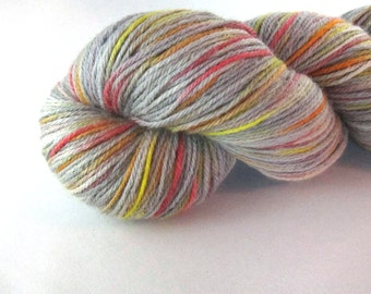 Brennen's Dream:  Once and Future Nerd podcast inspired, nerd yarn, hand dyed sock yarn, grey yarn, red yellow orange, TOAFN, crown