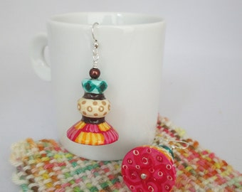 Wood earrings, hand painted, fall inspired, handpainted bead, patterned, patchwork, beaded jewelry, hand painted, flared bead