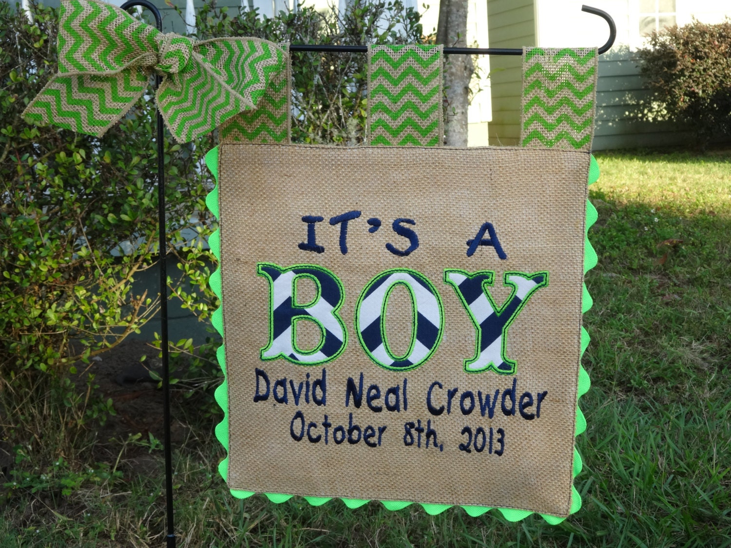 Burlap Garden Flag Its a Boy Custom Welcome Baby