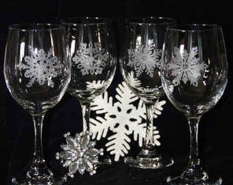 Hand etched snowflake wine glasses
