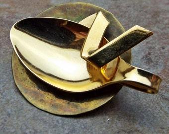 Vintage Spoon Brooch Pin in Goldtone