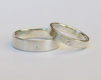 Ready To Ship!  Sterling Silver Ring(s) Size 10.25 and 5.5, Gold or Silver Ring Set, Flush set White Sapphire, Hand made Ring