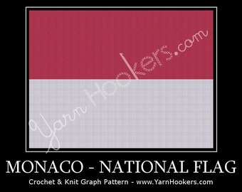 Monacan National Flag - Afghan Crochet Graph Pattern Chart by Yarn Hookers