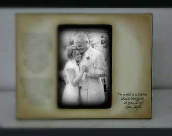 Father Daughter Rustic Dad Distressed Gift Personalized Father of the Bride Wedding Picture Frame 4x6 Keepsake