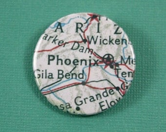 Pinback Button, Phoenix, Ø 1.5 Inch Badge, Atlas, Travel, vintage, fun, typography, whimsical