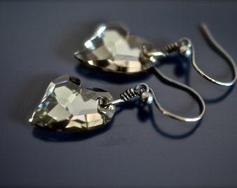 Swarovski Crystal Devoted 2U Heart Black Diamond 17mm Oxidized SS Earrings