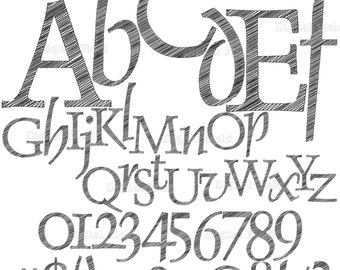Scribble alphabet clip art set - printable digital letters and numbers - instant download