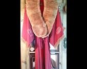 Laline-Hold for Catherine-Vintage Red Kimono with Fur Collar Stole, Tassel Belt,  Vintage Trinkets, Theatre Fringe
