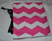 Stylish Pink Chevron.  All-in-One. Clutch. Diaper Changing Pad with Pocket for Diapers & Wipes Case. Ready to ship!