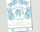 BLUE INDIAN ELEPHANT baby boy baby shower invitation sip and see baby boy sprinkle invitation lime green and blue paisley