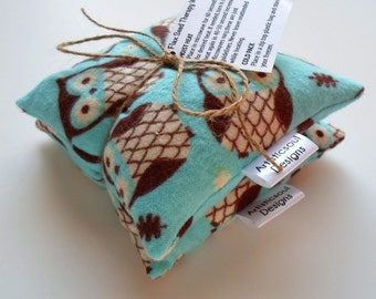 Flax Seed Pod Set, Hot & Cold Therapy, Teal Owl Print