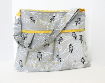Custom Diaper Bag for Boy Girl Gray Bird Aviary with Yellow Lining or Choose Your Own Adjustable Messenger Strap