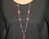 ON SALE - Red Jasper & Amber Beaded Lanyard