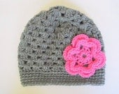 Toddler Girl Gray Hat With Pink Flower 2 To 5  Years Old Fall Cloche Winter Grey Cap Beanie