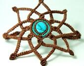 turquoise boho bracelet · macramé bracelet · macrame mandala · boho armband · earthy wristband · turquoise bracelet