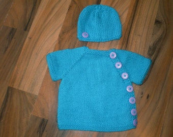 sweet little hand knitted baby button down cardigan with matching hat blue with lilac buttons newborn