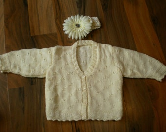 cute hand knitted baby cardigan complete with crochet headband with large flower cream 3-6 month
