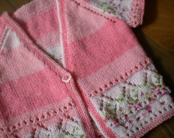 baby girls hand knitted short sleeve cardigan, hand knit baby girl sweater pink and white mix 6-9 month