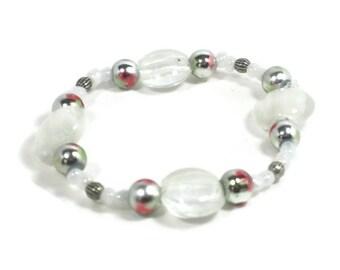 White Beaded Stretch Bracelet